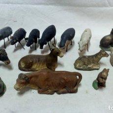 Figuras de Belén: LOTE 18 ANTIGUAS FIGURAS DE ANIMALES DE PESEBRE EN BARRO.. Lote 134287070