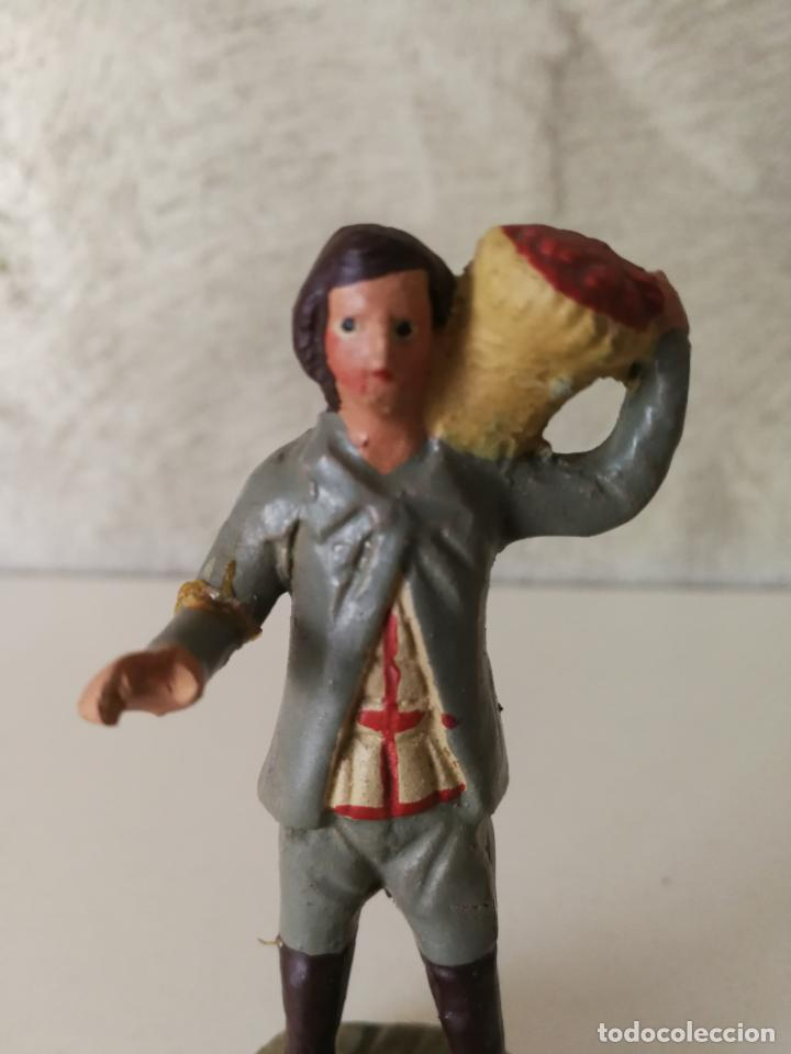 Figuras de Belén: ANTIGUA FIGURA BELÉN BARRO TERRACOTA CON CESTO AL HOMBRO - Foto 2 - 140556214