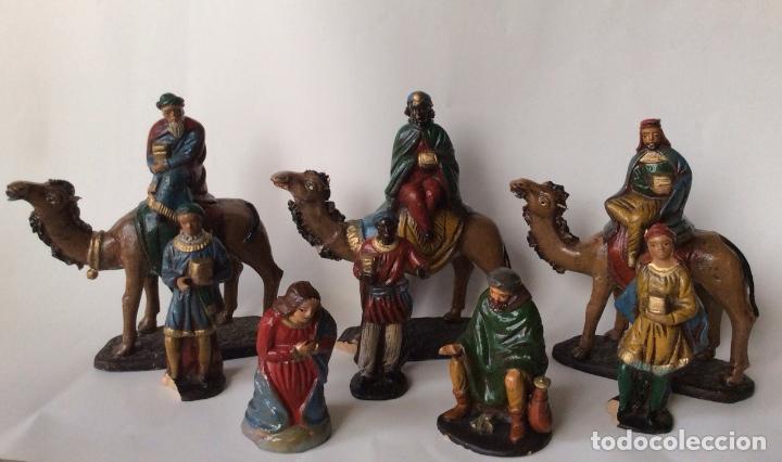 ANTIGUO CONJUNTO DE REYES MAGOS - PAJES - VIRGÉN MARIA Y OTRA EN BARRO - SERRANO - (Coleccionismo - Figuras de Belén)