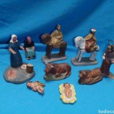 Figuras de Belén: ANTIGUAS FIGURAS EN TERRACOTA BARRO MURCIANO. REYES MAGOS. SAN JOSÉ. MUJERES. Lote 142572813
