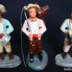 Figuras de Belén: 3 VIEJAS FIGURAS BELEN DE TERRACOTA. Lote 142721078