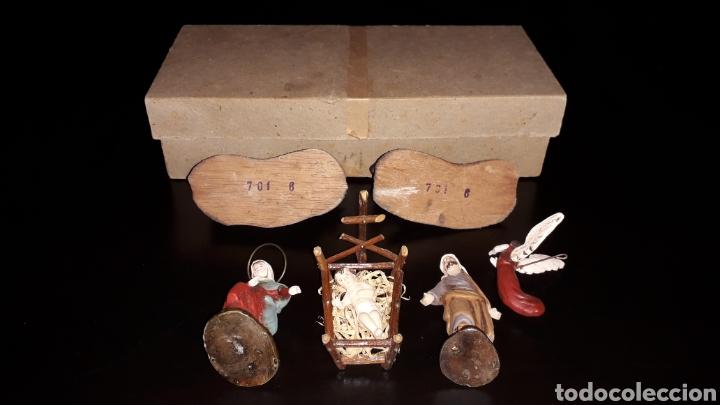 Figuras de Belén: Figuras Belén Belenismo: Misterio Nacimiento en barro o terracota, Ortigas o similar, años 50. Caja. - Foto 5 - 143584806