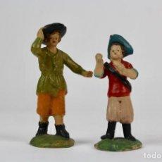 Figuras de Belén: PAREJA DE FIGURAS EN TERRACOTA OARA BELEN .PRINCIPIOS DE SIGLO XX.. Lote 148146354