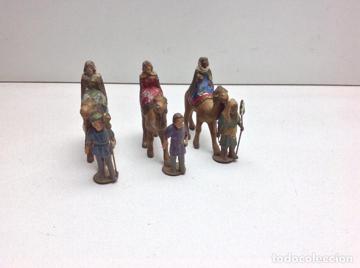 REYES MAGOS EN PLOMO - ANTIGUAS FIGURAS DE BELEN - ALTURA 6 CM (Coleccionismo - Figuras de Belén)