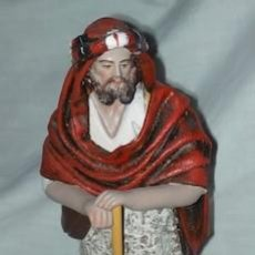 Figuras de Belén: BELÉN O NACIMIENTO, PASTOR DE BARRO Y LIENZO. Lote 148621354
