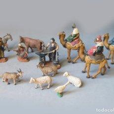 Figuras de Belén: FIGURAS DE NACIMIENTO DE NAVIDAD MARCA OLIVER - REYES MAGOS - FRAGUA - CABRAS - SAN JOSÉ. Lote 154939066