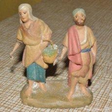 Figuras de Belén: DOBLE FIGURA DE BELÉN, BARRO O TERRACOTA. Lote 155864058