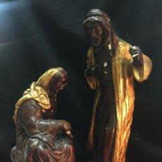 Figuras de Belén: SAN JOSÉ Y VIRGEN MARIA. EN YESO O ESTUCO. MIDEN 29 Y 21CMS APROX.. Lote 159558710