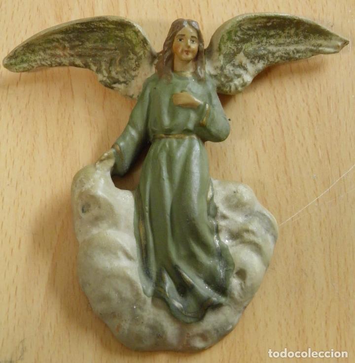 ANGEL DE TERRACOTA SOBRE UNA NUBE,PARA COLGAR,AÑOS 30 Ò 40,¿POSIBLE CASTELLS? (Coleccionismo - Figuras de Belén)