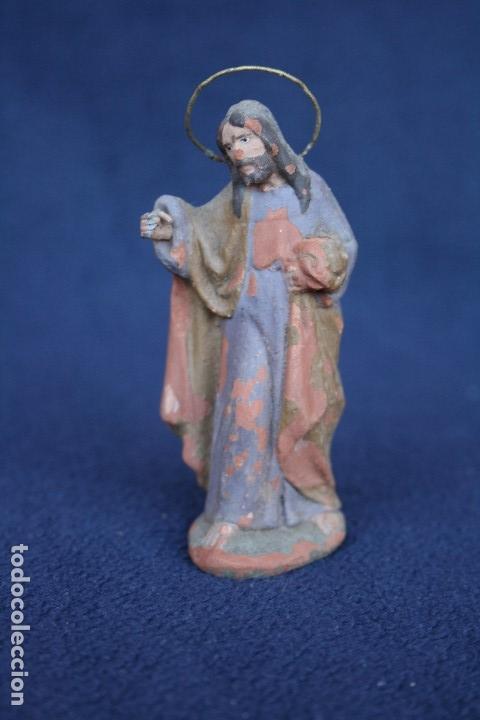 Figuras de Belén: ANTIGUO CONJUNTO DE 2 FIGURAS, LA VIRGEN Y SAN JOSE. PESEBRE, BELEN .TERRACOTA O BARRO - Foto 4 - 163401038