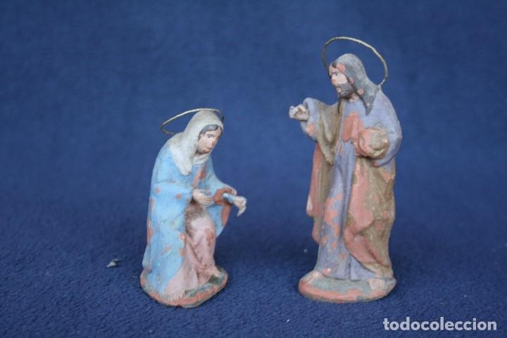 Figuras de Belén: ANTIGUO CONJUNTO DE 2 FIGURAS, LA VIRGEN Y SAN JOSE. PESEBRE, BELEN .TERRACOTA O BARRO - Foto 6 - 163401038