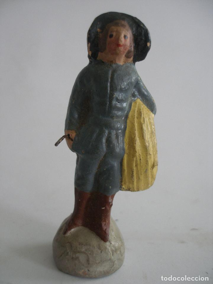 ANTIGUA FIGURA PASTOR LUGAREÑO EN TERRACOTA BARRO MURCIA (Coleccionismo - Figuras de Belén)