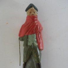 Figuras de Belén: ANTIGUA FIGURA PASTOR LUGAREÑO EN TERRACOTA BARRO MURCIA. Lote 163468138