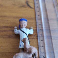 Figuras de Belén: FIGURA DE BARRO, PASTOR CON OVEJAS. Lote 58193205