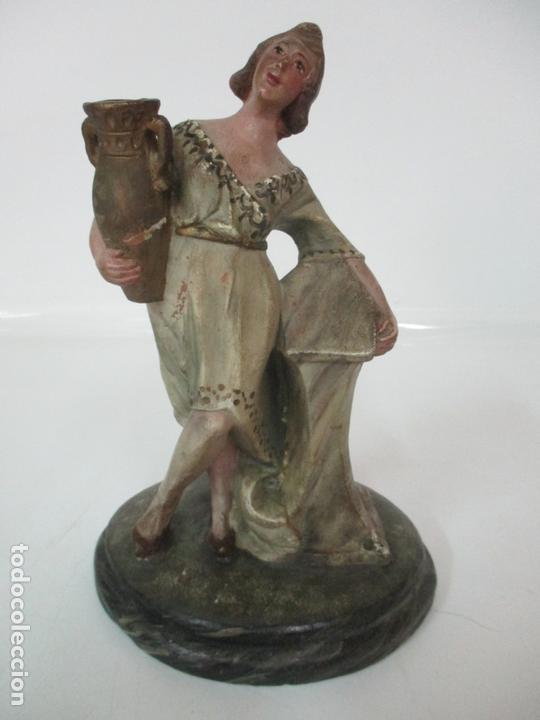 ANTIGUA FIGURA DE BELÉN, NACIMIENTO - TERRACOTA POLICROMADA - POSIBLE RAMÓN AMADEU- S. XVIII-XIX (Coleccionismo - Figuras de Belén)