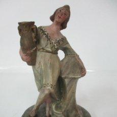 Figuras de Belén: ANTIGUA FIGURA DE BELÉN, NACIMIENTO - TERRACOTA POLICROMADA - POSIBLE RAMÓN AMADEU- S. XVIII-XIX. Lote 165043126