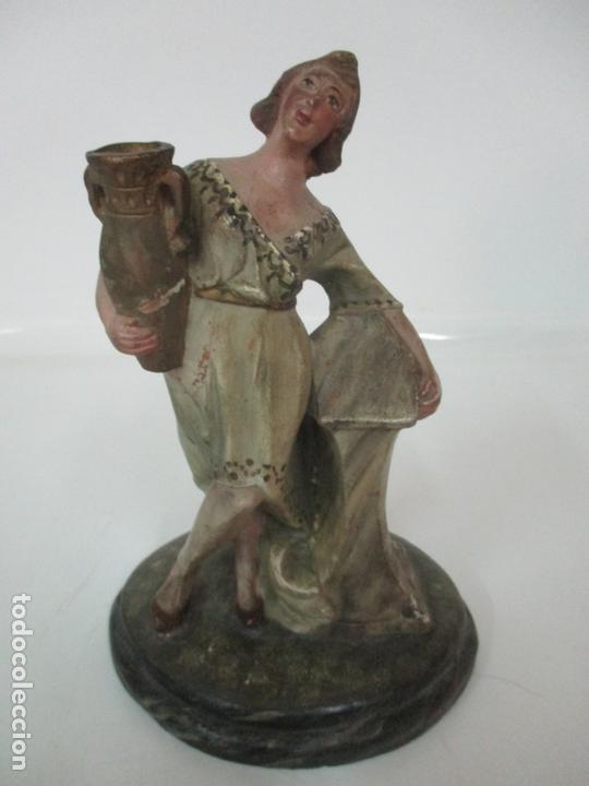 Figuras de Belén: Antigua Figura de Belén, Nacimiento - Terracota Policromada - Posible Ramón Amadeu- S. XVIII-XIX - Foto 4 - 165043126