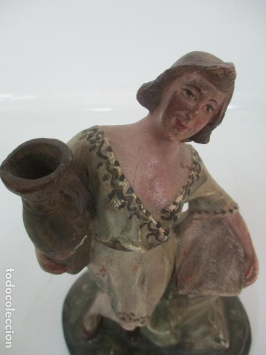 Figuras de Belén: Antigua Figura de Belén, Nacimiento - Terracota Policromada - Posible Ramón Amadeu- S. XVIII-XIX - Foto 6 - 165043126