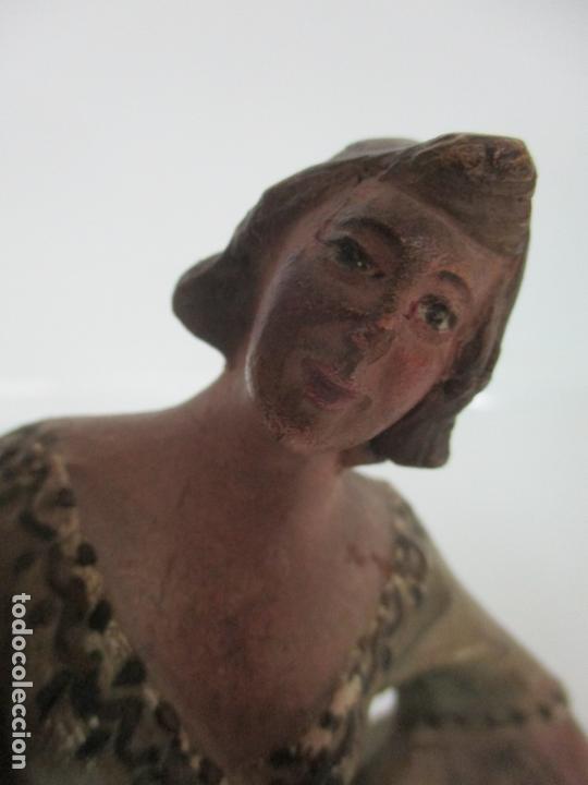 Figuras de Belén: Antigua Figura de Belén, Nacimiento - Terracota Policromada - Posible Ramón Amadeu- S. XVIII-XIX - Foto 7 - 165043126