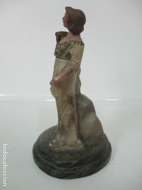 Figuras de Belén: Antigua Figura de Belén, Nacimiento - Terracota Policromada - Posible Ramón Amadeu- S. XVIII-XIX - Foto 9 - 165043126