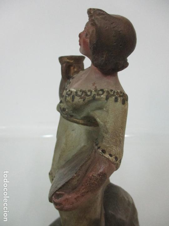 Figuras de Belén: Antigua Figura de Belén, Nacimiento - Terracota Policromada - Posible Ramón Amadeu- S. XVIII-XIX - Foto 12 - 165043126