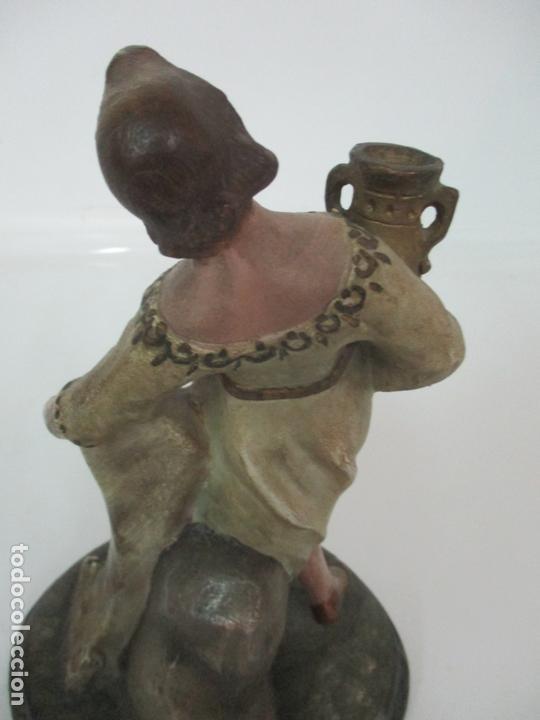 Figuras de Belén: Antigua Figura de Belén, Nacimiento - Terracota Policromada - Posible Ramón Amadeu- S. XVIII-XIX - Foto 15 - 165043126