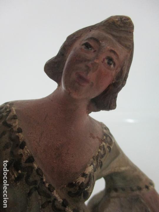 Figuras de Belén: Antigua Figura de Belén, Nacimiento - Terracota Policromada - Posible Ramón Amadeu- S. XVIII-XIX - Foto 20 - 165043126