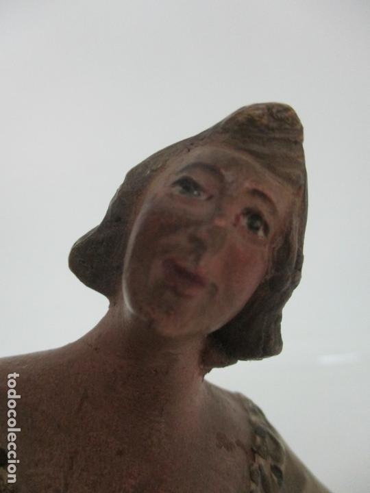 Figuras de Belén: Antigua Figura de Belén, Nacimiento - Terracota Policromada - Posible Ramón Amadeu- S. XVIII-XIX - Foto 21 - 165043126