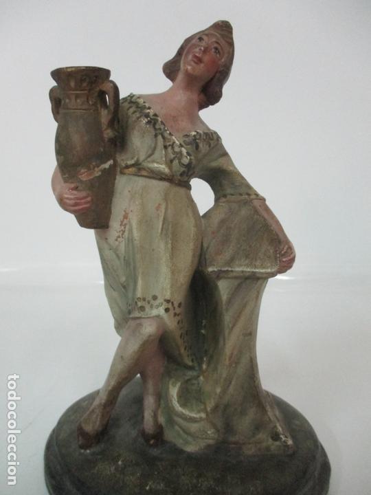 Figuras de Belén: Antigua Figura de Belén, Nacimiento - Terracota Policromada - Posible Ramón Amadeu- S. XVIII-XIX - Foto 22 - 165043126