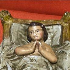 Figuras de Belén: JESUS EN PESEBRE YESO O ESCAYOLA POLICROMADA NIÑO JESUS BELEN MISTERIO NAVIDAD NACIMIENTO O DECORACI. Lote 170138820