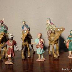 Figuras de Belén: LOTE ANTIGUAS FIGURAS DE BELÉN EN PLÁSTICO - TRES REYES MAGOS - PECH - VER FOTOS. Lote 171238100