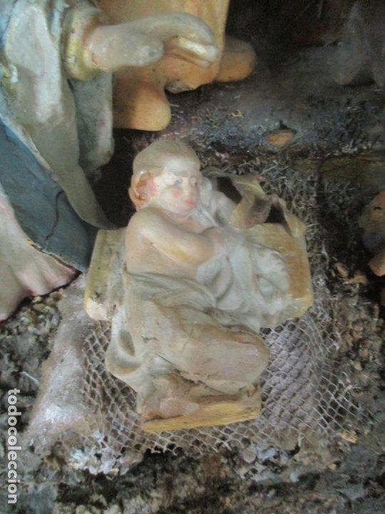 Figuras de Belén: Antiguo Nacimiento Barroco - Figuras de Belén en Terracota Policromada - Capilla Original - S. XVIII - Foto 11 - 174058247