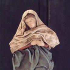 Figuras de Belén: FIGURA DE LA VIRGÉN MARÍA EN BARRO Y TELAS ENCOLADAS ARTESANIA SERRANO. Lote 177684082
