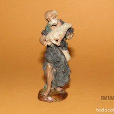 Figuras de Belén: ANTIGUA FIGURA DE BELÉN EN TERRACOTA MARCADA EN LA BASE. Lote 179389111