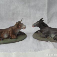 Figuras de Belén: 2 FIGURAS PESEBRE BELÉN DE TERRACOTA - MULA Y BUEY -.. Lote 183608175
