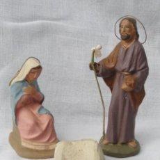 Figuras de Belén: 3 FIGURAS PESEBRE BELÉN DE TERRACOTA - SAN JOSÉ, VIRGEN MARÍA Y CUNA -.. Lote 183610080