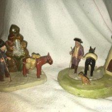Figuras de Belén: FIGURAS DE BELÉN,NACIMIENTO,MOLINO CON FIGURA Y MULA. FUENTE CON FIGURAS. BARRO.MURCIA. VILR. Lote 183947051