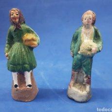 Figuras de Belén: LITE 2 PASTORES DE BARRO ,MURCIA ,AÑOS 1930-40. Lote 189352472