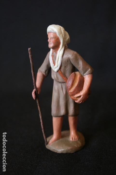 Figuras de Belén: EXTRAORDINARIO PASTOR CON PAN Y MORRAL . PESEBRE, BELEN .TERRACOTA O BARRO - Foto 5 - 190217185