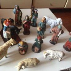 Figuras de Belén: 13 FIGURAS DE BELEN DE BARRO O SIMILAR . . Lote 191682841