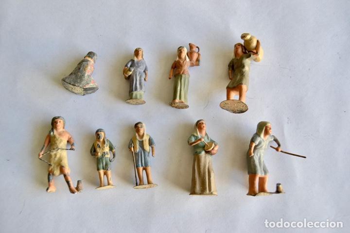 Figuras de Belén: Precioso y Original Belén de Plomo. Figuras, Animales y Accesorios. 53 Elementos. Circa 1930. Raro - Foto 12 - 195215796