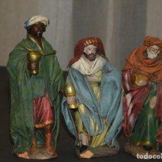 Figuras de Belén: FIGURAS DE BELÉN DE BARRO ENTELADO *REYES MAGOS* (13/11 CM ALT). INF. 8 FOTOS DESCRIPTIVAS.. Lote 195380200