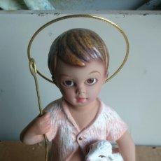 Figurines pour Crèches de Noël: FIGURA DE BELEN NIÑO JESUS CON CORDERO. DE TIPO BARRO PINTADO. Lote 201840380