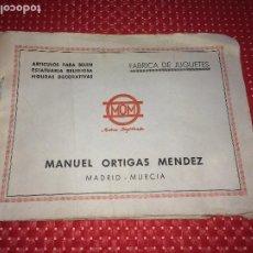 Figuras de Belén: CATALOGO BELEN MURCIANO - AÑOS 40 - MANUEL ORTIGAS MENDEZ - MURCIA. Lote 206444620