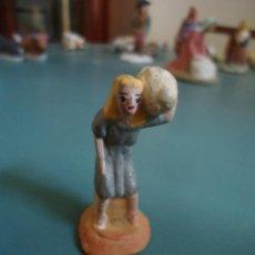 Figuras de Belén: ANTIGUA FIGURA DE BELÉN PESEBRE MURCIANO.PASTOR CON CORDERO. Lote 211609722