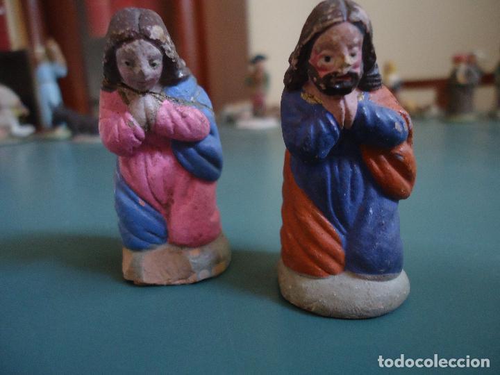 ANTIGUA FIGURA DE BELÉN PESEBRE MURCIANO. JOSÉ Y MARÍA (Coleccionismo - Figuras de Belén)