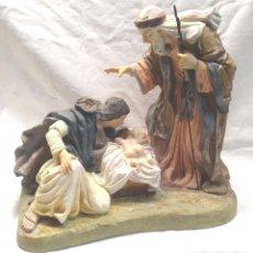 Figurines pour Crèches de Noël: ESCENA NACIMIENTO MISTERIO BELÉN, ESTUCO POLICROMADO, ESCUELA OLOT AÑOS 40, MUY DETALLISTA.. Lote 213257915
