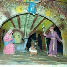 Figuras de Belén: HAGA SU OFERTA - BELEN PLASTICO DURO NACIMIENTO VIRGEN SAN JOSE NIÑO JESUS MULA BUEY ANGEL PERCEBRE. Lote 219121711