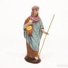Figuras de Belén: FIGURAS DE BARRO PARA NACIMIENTO DE 12 CM. PASTORA CON ALFORJA.. Lote 222046443
