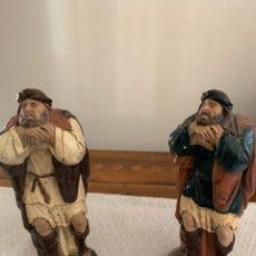 Figuras de Belén: DOS PASTORES SORPRENDIDOS ANTE LA APARICIÓN DEL ÁNGEL,20 CM. Lote 222665793